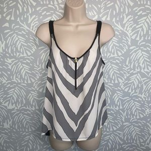 Express Gray and White Stripe Zippered Tank Top